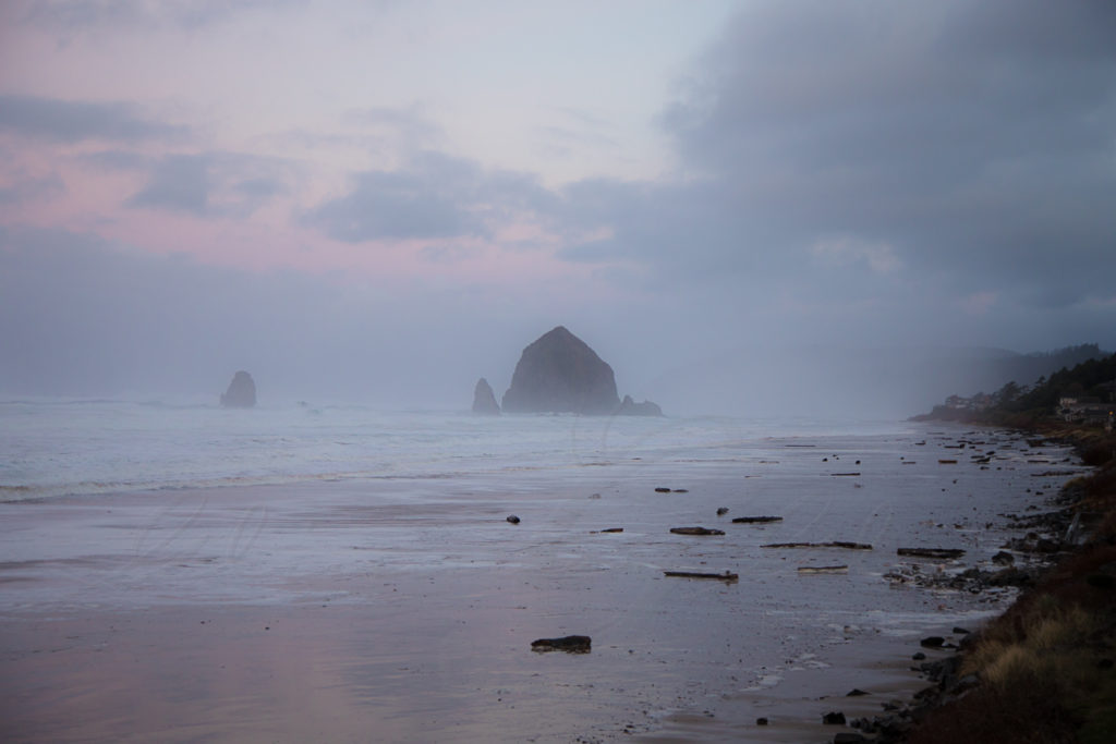 Cannon Beach, on the way to Heceta Head. Red sky in morning, sailors take warning.