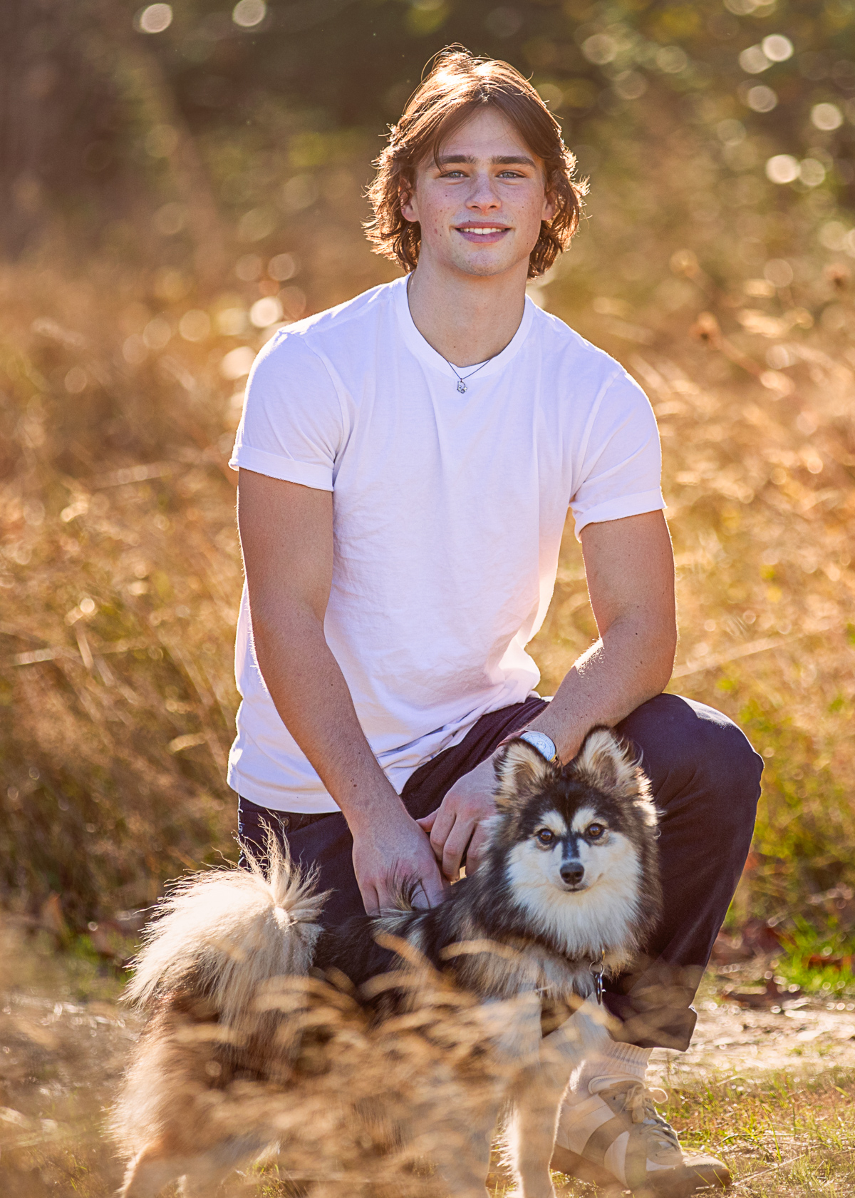 Senior Pictures, boy and his dog